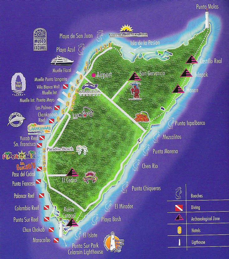 Cozumel hotel map 2018 world 39 s best hotels - Cozumel dive sites ...